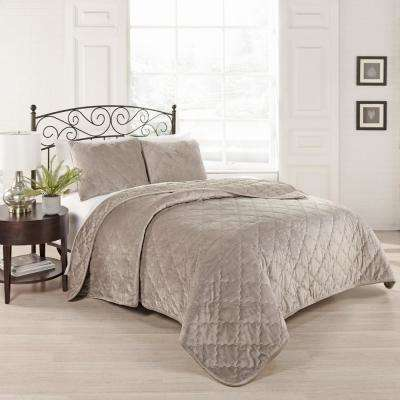 Collette 3-Piece Light Taupe Queen Coverlet Set