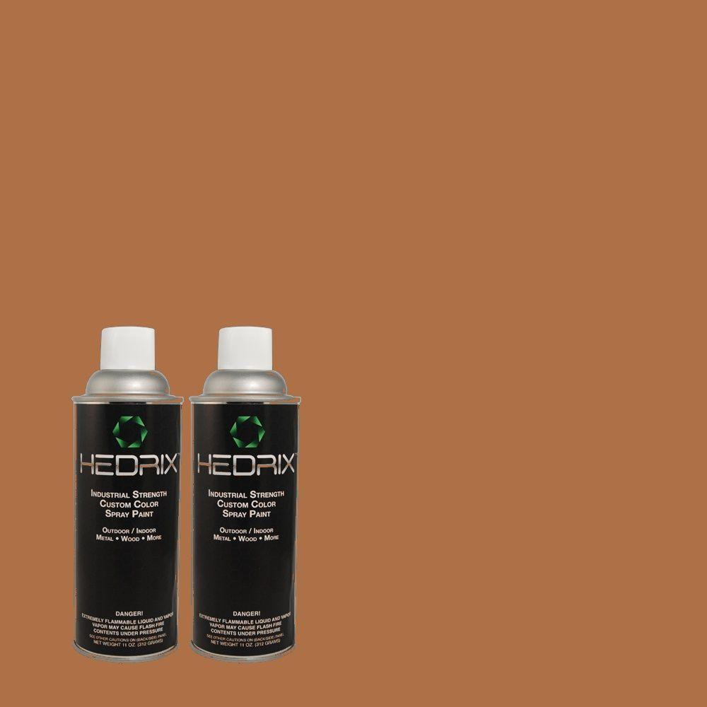Hedrix 11 oz. Match of QE-13 Smoldering Copper Flat Custom Spray Paint (8-Pack)