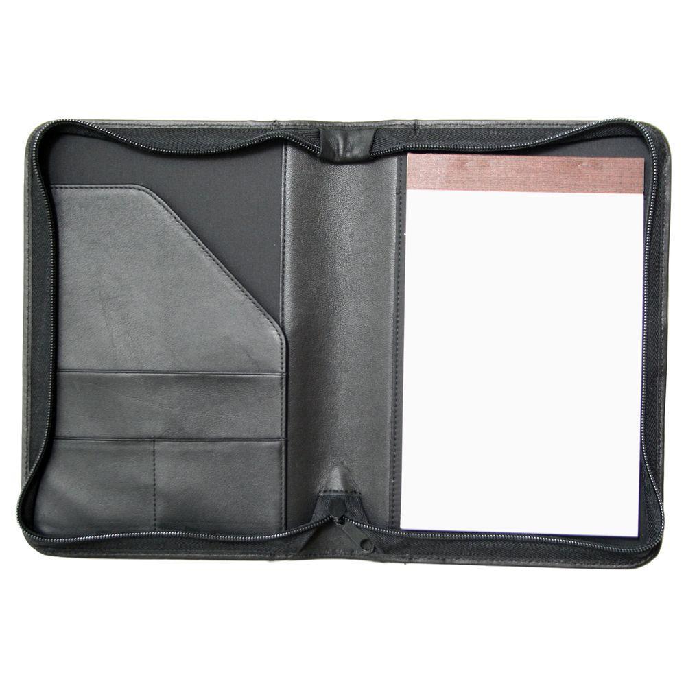 Genuine Leather Zippered Compact Writing Portfolio Organizer, Black