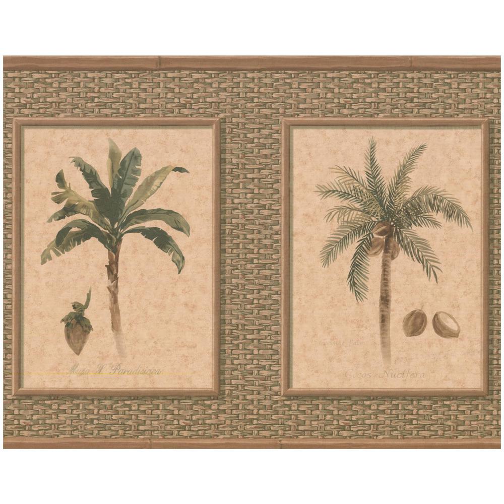 York Wallcoverings Palm Coconut Trees Beige Green Prepasted Wallpaper Border