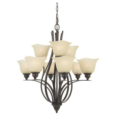 Morningside 9-Light Grecian Bronze Multi-Tier Chandelier with Glass Shade