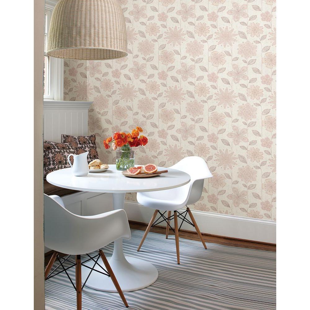 Maisie Pink Batik Flower Wallpaper