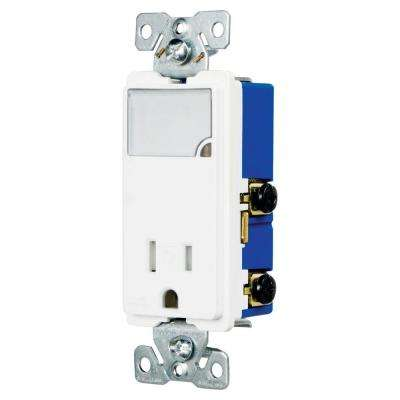3-Wire Receptacle Combo Nightlight with Tamper Resistant 2-Pole, White