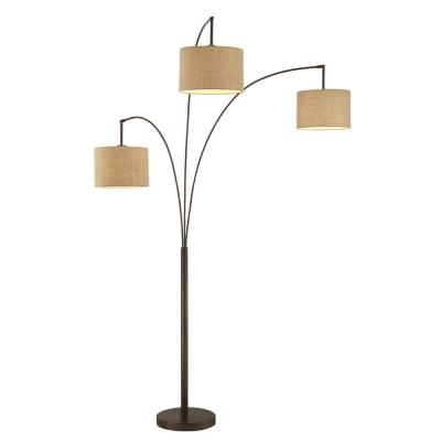Lumiere Modern 80 in. Antique Bronze LED 3-Arc Floor Lamp with Dimmer