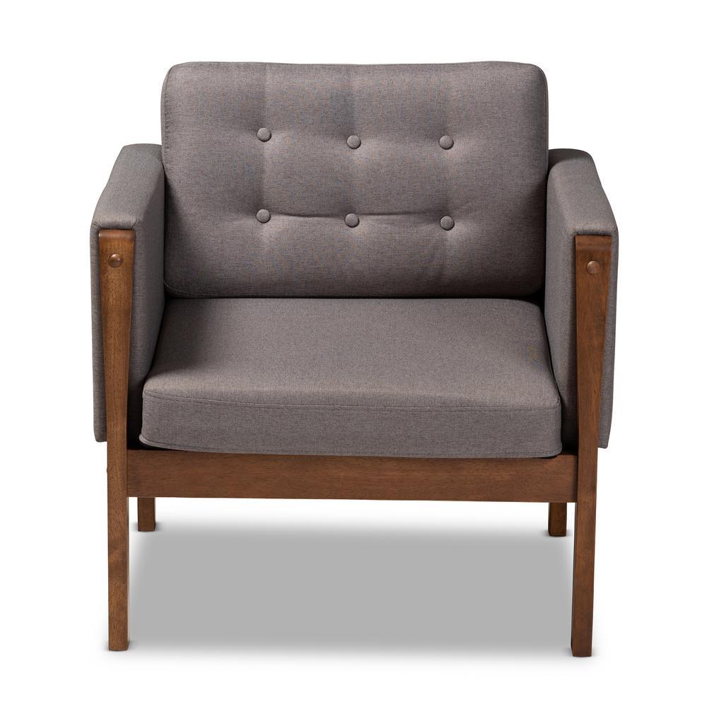 Lenne Gray and Walnut Fabric Armchair