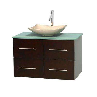 Centra 36 in. Vanity in Espresso with Glass Vanity Top in Green and Sink