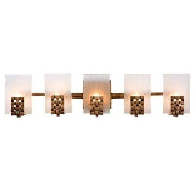Dreamweaver 5-Light Blackened Copper/New Bronze Vanity Light with Frosted Plate Glass