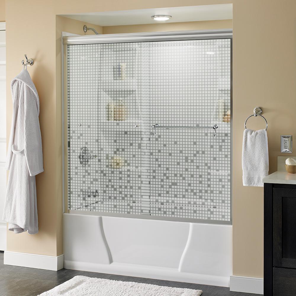 Portman 60 in. x 58-1/8 in. Semi-Frameless Sliding Bathtub Door in Chrome with Mozaic Glass