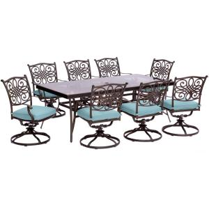 Hanover Traditions 9-Piece Aluminum Outdoor Dining Set with Rectangular Glass Table and... by Hanover