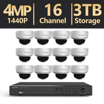 16-Channel 4MP 3TB IP NVR Surveillance System (12) 4MP Dome Cameras with Remote View