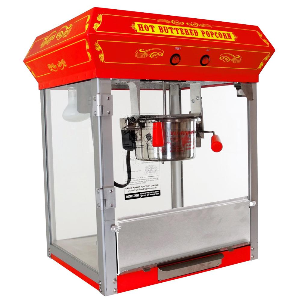 Funtime Carnival Style 4 oz. Popcorn Machine, Red These beautiful classic style popcorn machines bring back the fun feel of yesteryear. Back to a time when you could buy a bag of hot buttery popcorn for a nickel. Entertain your friends and family, while making some of the most delicious popcorn imaginable. Color: Red.