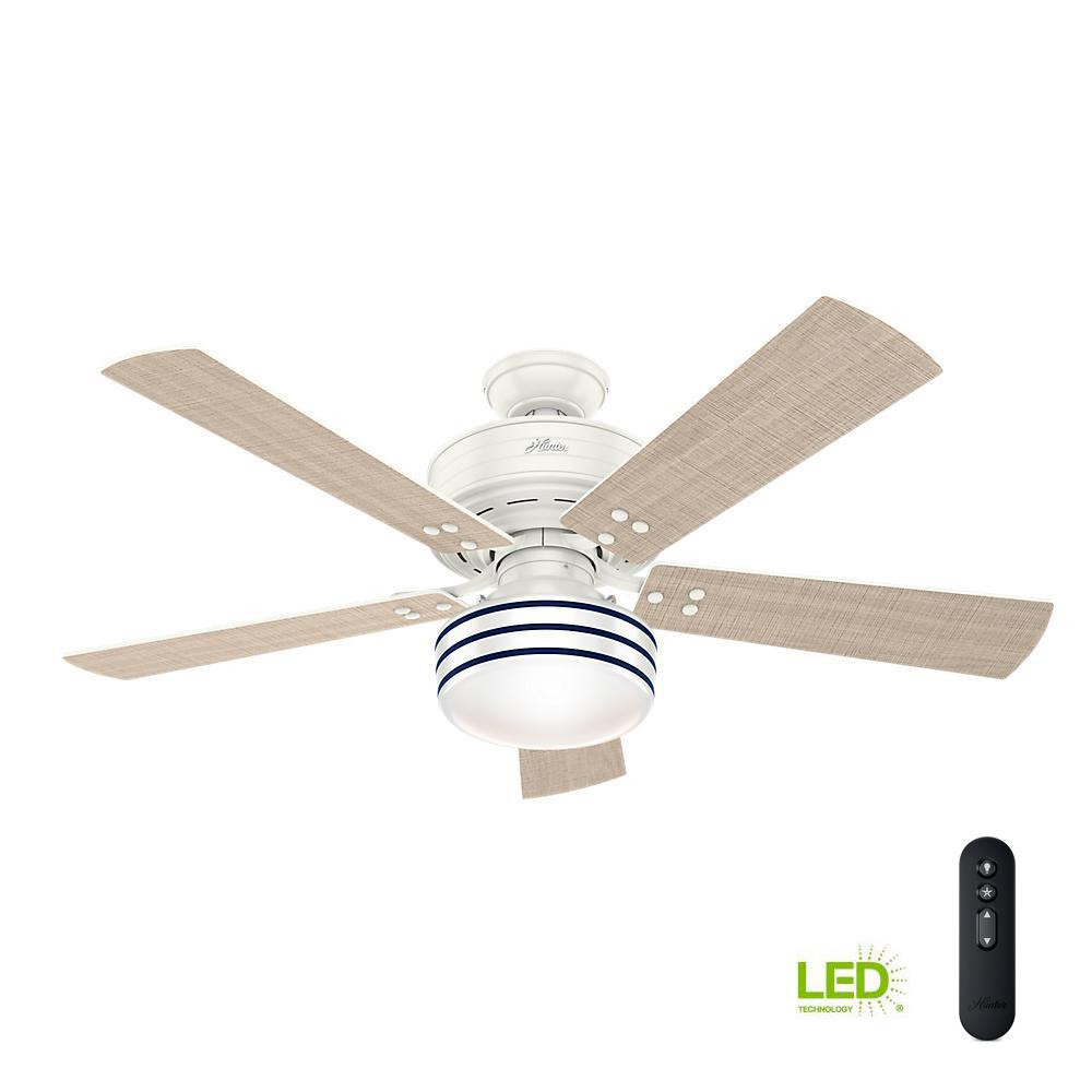 White Outdoor Ceiling Fan With Light: Hunter Cedar Key 52 In. Indoor/Outdoor Fresh White Ceiling