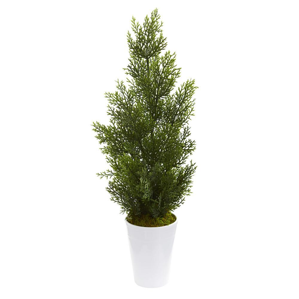 Indoor/Outdoor 27 in. Mini Cedar Artificial Pine Tree in Decorative Planter
