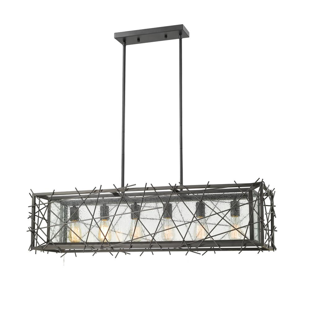 Filament Design Armani 6-Light Bronze Hanging Pendant with Water Wave Glass Shade