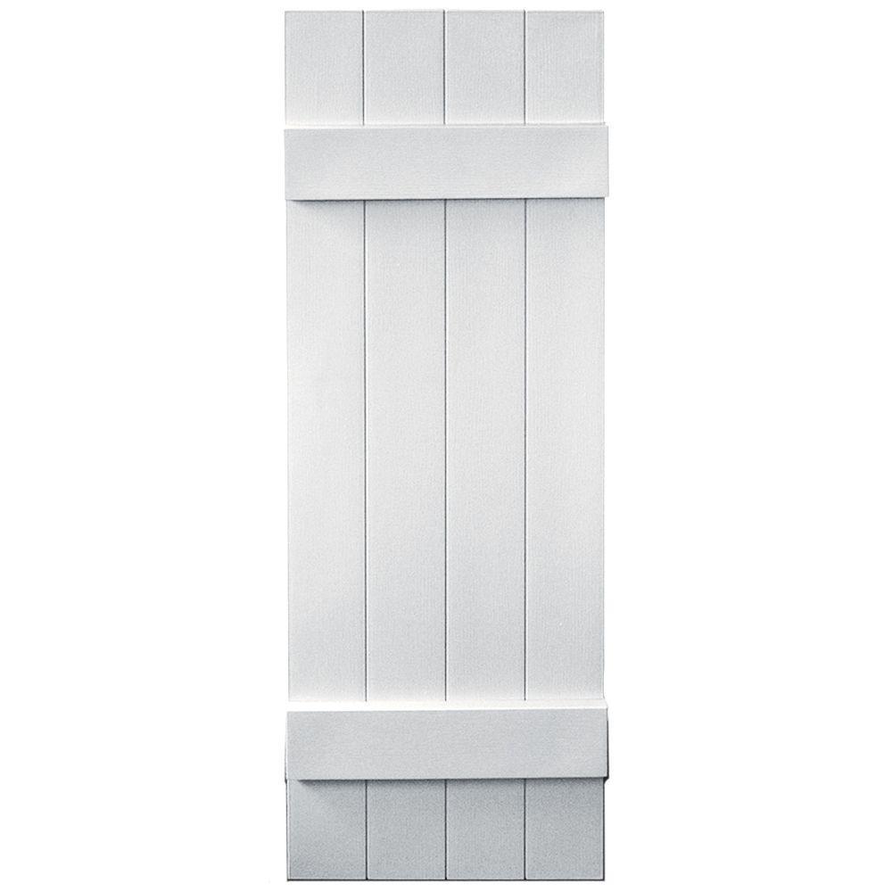 14 in. x 43 in. Board-N-Batten Shutters Pair, 4 Boards Joined #117 Bright White