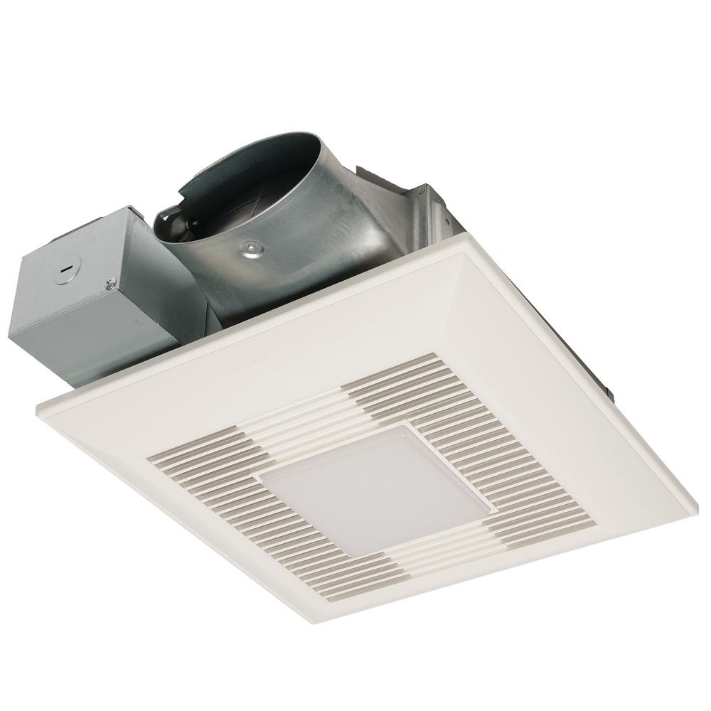 Panasonic WhisperValue DC Series 50/80/100 CFM Ceiling/Wall Exhaust Fan LED Light Condensation Sensor with Low Profile Housing