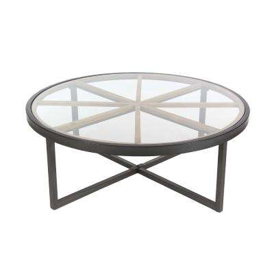 Modern 47 in. Iron and Glass Coffee Table