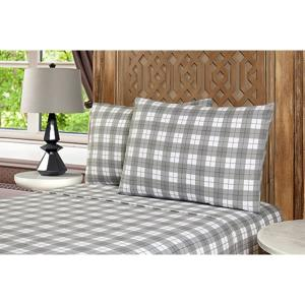 Mhf Home 4-Piece Grey Plaid Queen Sheet Set