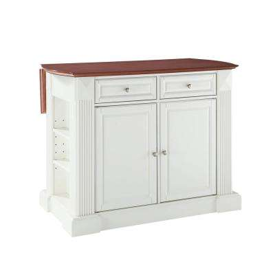 Coventry White Kitchen Island with Cherry Drop Leaf Top