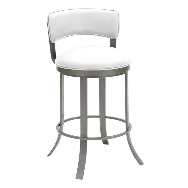 Taylor Gray Home Camilla 26 in. Aspen Pure White Swivel Barstool
