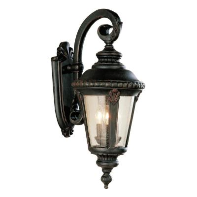 Commons 3-Light Rust Outdoor Wall Lantern Sconce with Seeded Glass