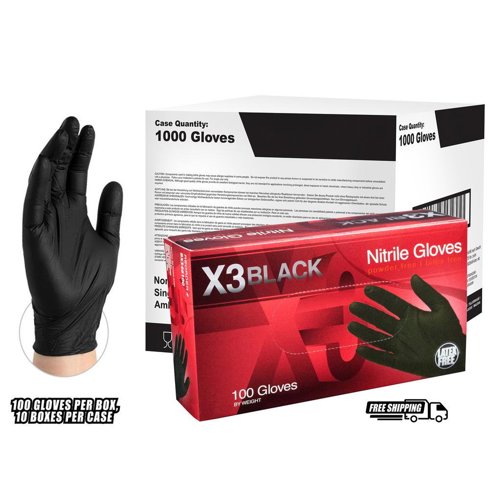 BX3 Black Nitrile Industrial Latex Free Disposable Gloves (Case of 1000)