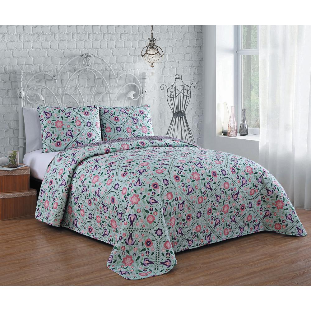 Evie 3-Piece Blue/Pink King Quilt Set