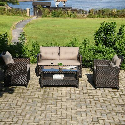 Brown Wicker Outdoor Chaise Lounge with Beige Cushions