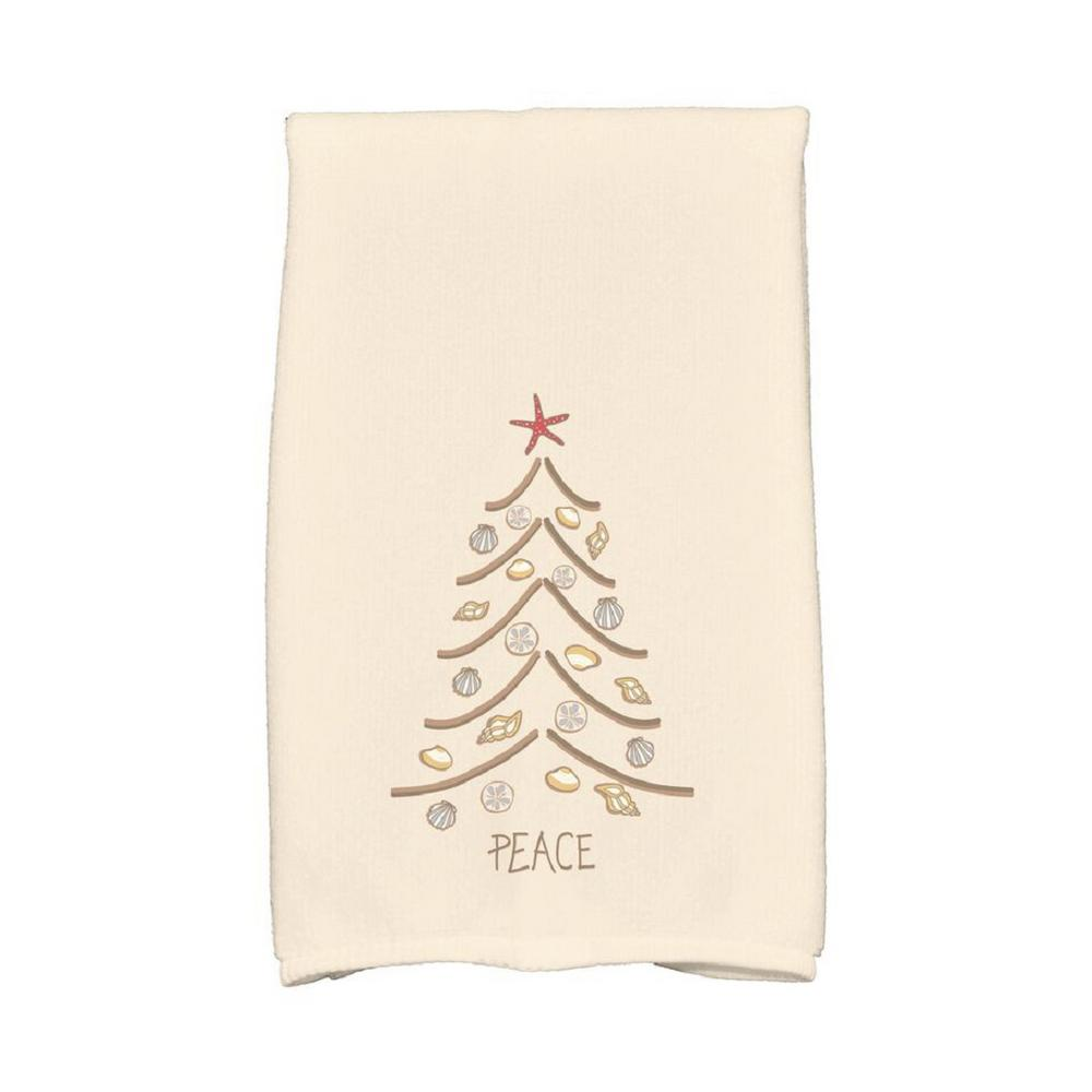 E by Design 16 in. x 25 in. Beige Sand Tree Holiday Geometric Print Kitchen Towel Spice up your decor with stylish kitchen towels. E By Design's kitchen towel collection includes a variety of fashionable and aesthetic designs you're sure to love. Our kitchen towels are just what you need to complete your kitchen decor. Color: Beige.