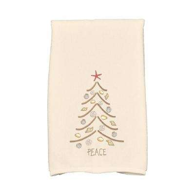 16 in. x 25 in. Beige Sand Tree Holiday Geometric Print Kitchen Towel