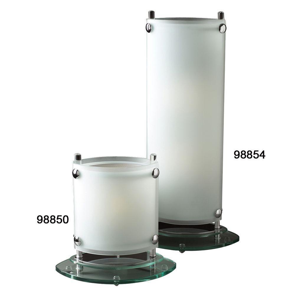 PLC Lighting 2-Light Table Lamp Polished Chrome Finish Acid Frost Glass