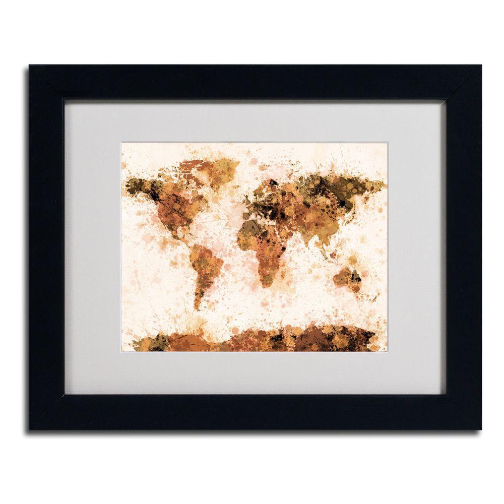 11 in. x 14 in. Bronze Paint Splash World Map Matted