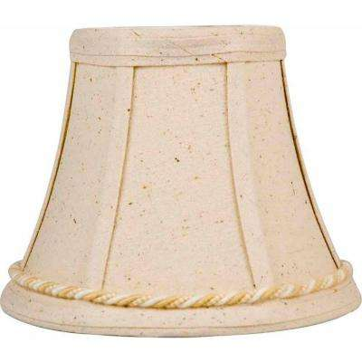 Stretch Bell Beige Raw Silk Chandelier Shade with Rope Trim