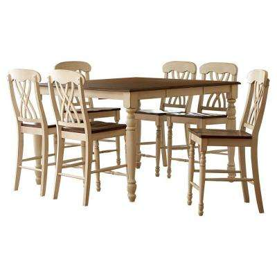 7-Piece Antique White and Oak Bar Table Set