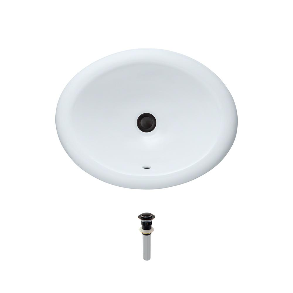 Overmount Porcelain Bathroom Sink in White with Pop-Up Drain in Antique