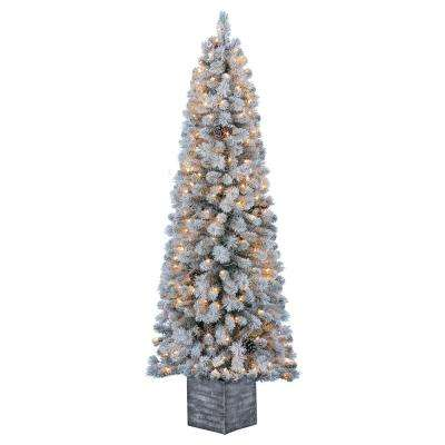 White Christmas Tree.6 5 Ft Pre Lit Flocked Lexington Pine Potted Artificial Christmas Tree With 200 Clear Lights