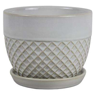 6 in. Dia White Acorn Bell Ceramic Planter