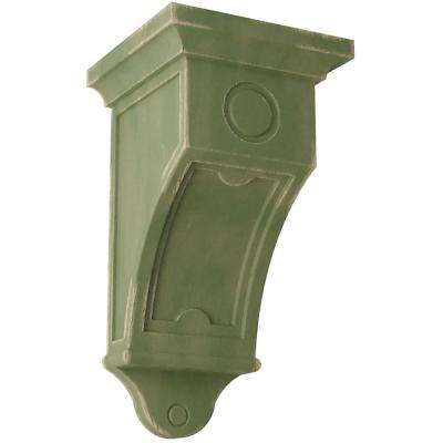 7-1/2 in. x 14 in. x 7-1/2 in. Restoration Green Arts and Crafts Wood Vintage Decor Corbel