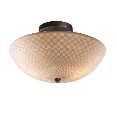 Porcelina 14 in. 2-Light Matte Black Semi-Flush Mount with Checkerboard Shade