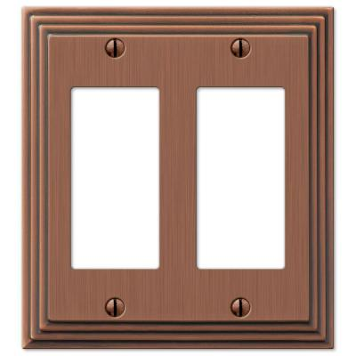 Tiered 2 Gang Rocker Metal Wall Plate - Antique Copper