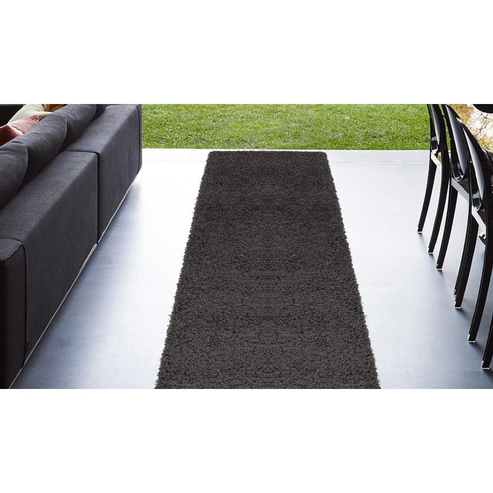 Cozy Shag Collection Charcoal Grey 2 ft. x 5 ft. Runner