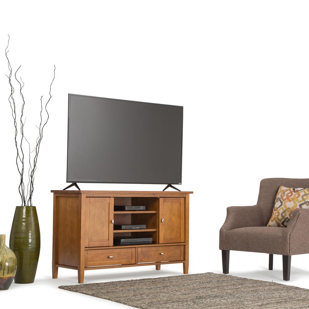 Simpli Home Honey Brown Storage Entertainment Center