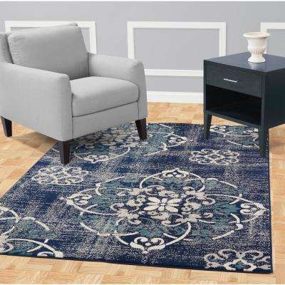 Jasmin Collection Navy and Ivory 2 ft. 7 in. x 9 ft. 10 in. Floral Medallion Runner Rug