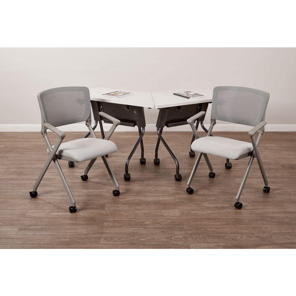 Grey Mesh Folding Chair (Set of 2)