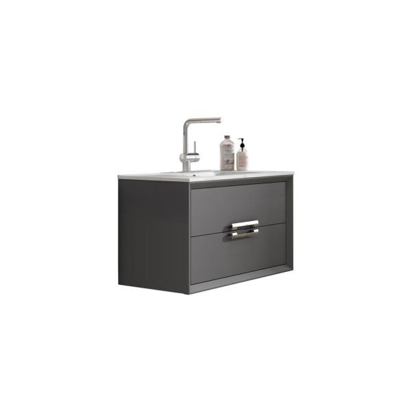 Decor Tirador 32 in. W x 18 in. D Bath Vanity in Grey with Ceramic Vanity Top in White with White Basin and Sink