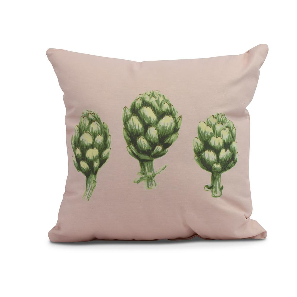 Artichoke 20 in. Pale Pink Decorative Floral Throw Pillow