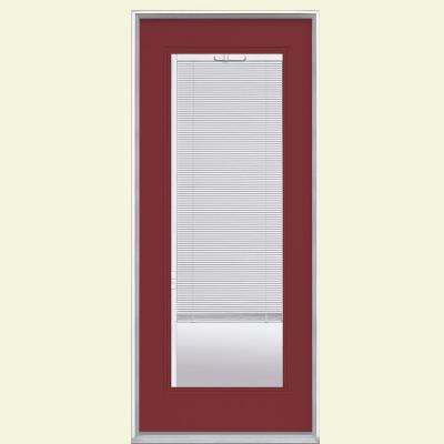32 in. x 80 in. Full Lite Mini Blind Left Hand Inswing Painted Steel Prehung Front Door No Brickmold