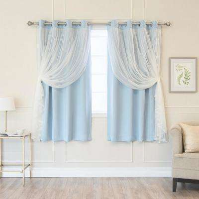 Sky Blue 63 in. L Marry Me Lace Overlay Blackout Curtain Panel (2-Pack)