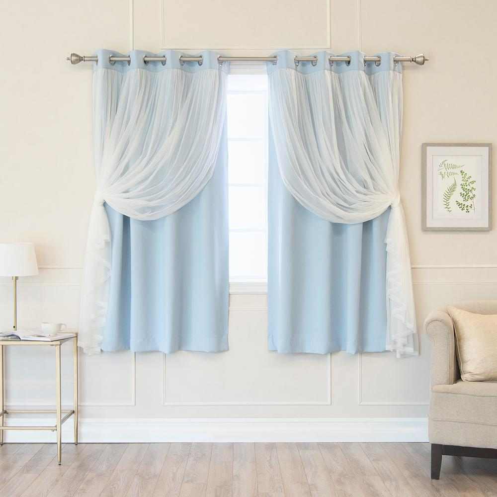 Best Home Fashion Sky Blue 63 In L Marry Me Lace Overlay Blackout Curtain Panel