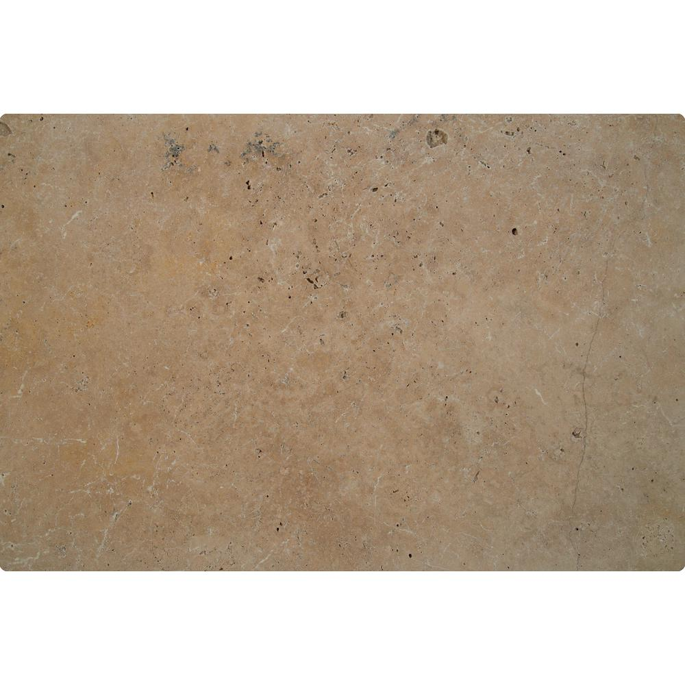 Mediterranean Walnut 6 in. x 12 in. Chiseled Travertine Paver Tile